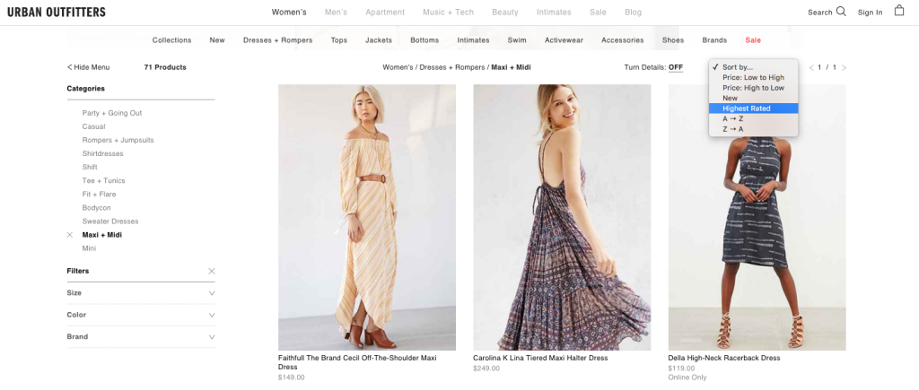 Urban Outfitters' fashion eCommerce site