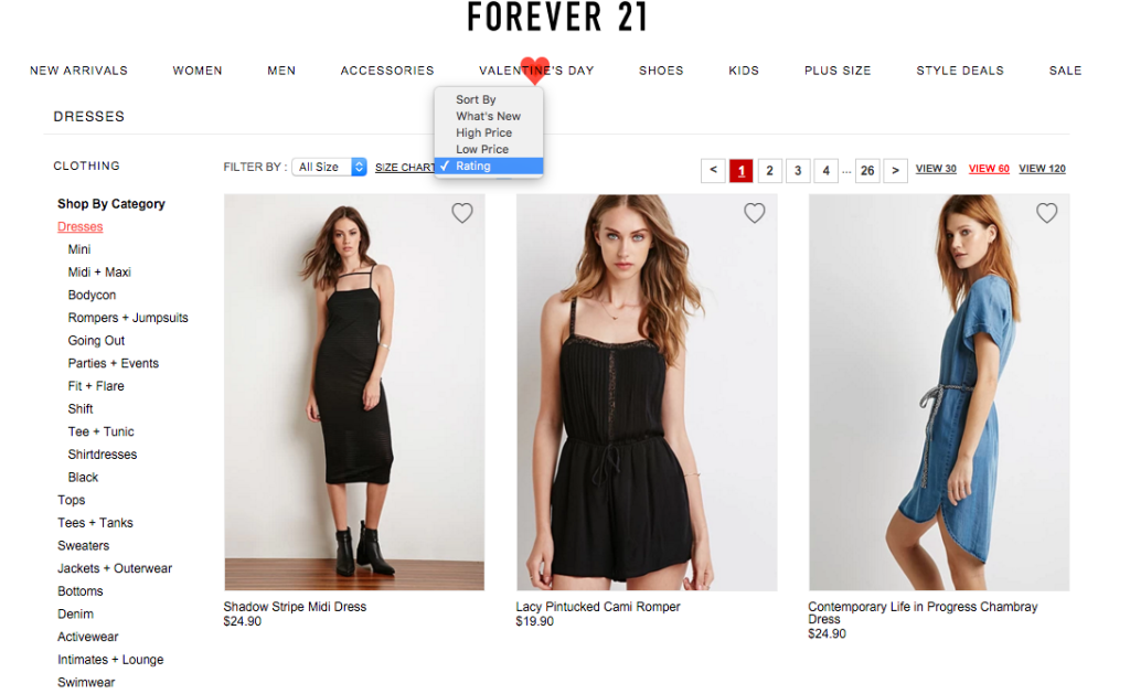 Forever 21's fashion eCommerce site